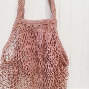 Bags - French Cotton Net Market Tote Bag - Mauve Pink